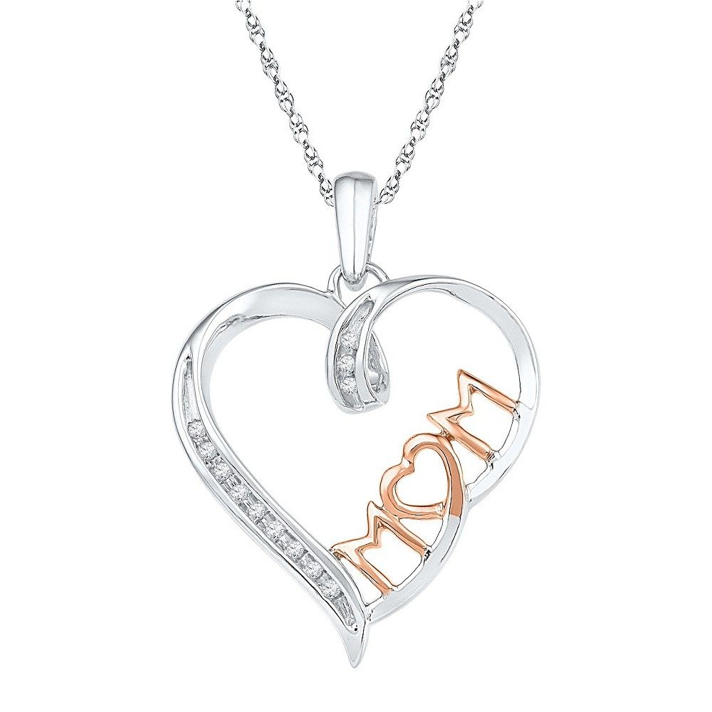 ct tw round diamond nick set mom heart pendant with pink