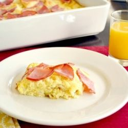English Muffin and Canadian Bacon Egg Bake~The flavors of Eggs Benedict in a egg casserole you make the night before.