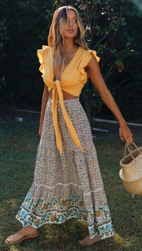 Chiffon Boho Bohemian Lace Crochet High Waist Skirts