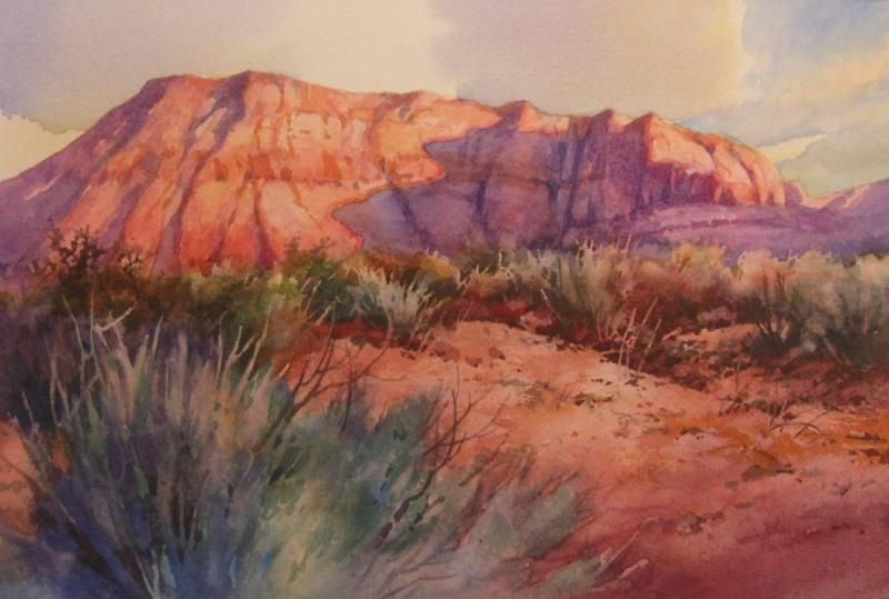 Morning Walk Ivins Watercolor Painting Of Big Red Mountain In