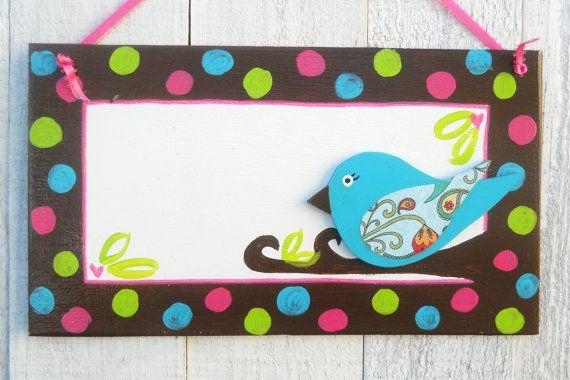 Whimsical  Bird polka dot border name sign w/bird by KidUnique, $23.00