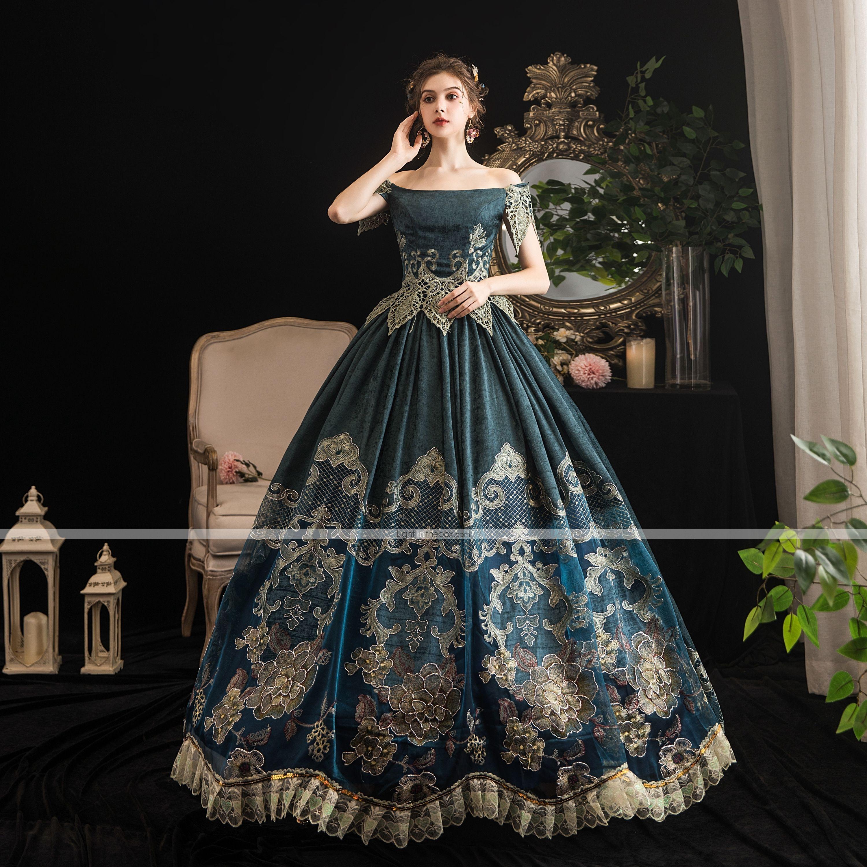 Maria Antonietta Rococo Baroque Victorian Dress Party Costume Women S Lace Satin Costume Dark Gree Vintage Green Dress Vintage Dresses 1800 Victorian Ball Gown [ 3000 x 3000 Pixel ]