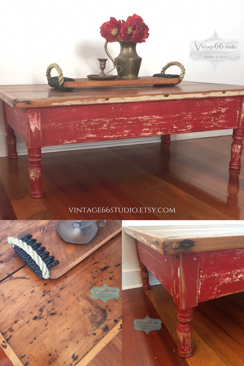 Superb Vintage Rustic Coffee Table Hand Painted Red And Heavily Bralicious Painted Fabric Chair Ideas Braliciousco