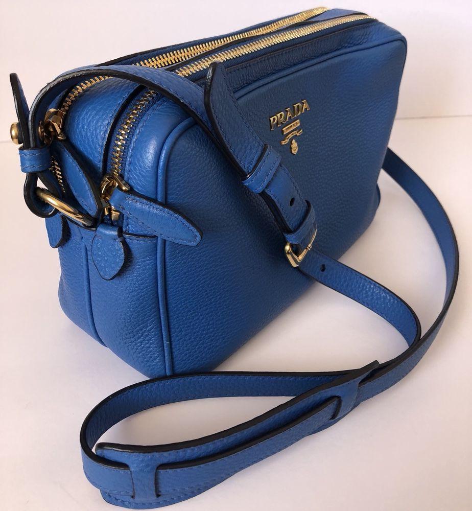 5bd6568e2f2b Authentic Prada Daino Crossbody Leather camera style bag Color : Marea  #purses #fashion