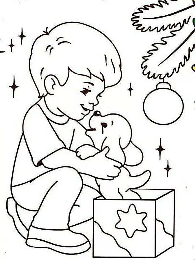 раскраска собачка распечатать новогодняя: 10 тыс ...