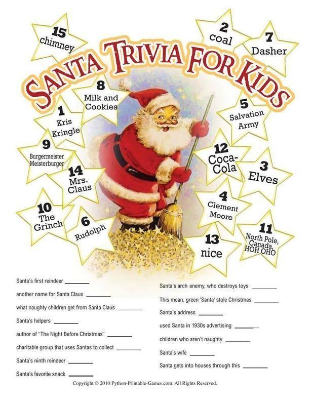 Christmas: Santa Claus Trivia For Kids | Christmas Trees | Pinterest ...