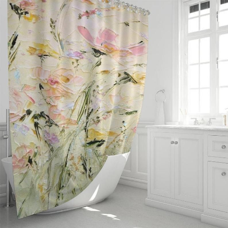 Painted Shower Curtain Hand Made Shower Curtain Custom Bathroom