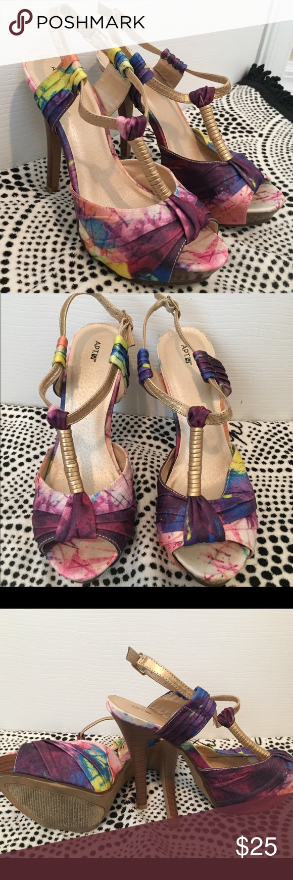 """Apt. 9 multi-colored heels Multi colored heels. Worn once, and in great condition. 5"""" heel height. Apt. 9 Shoes Heels"""