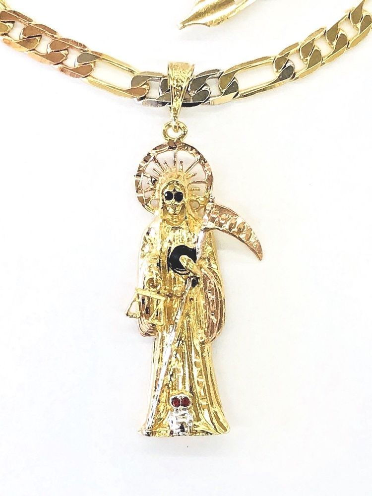 Grim Reaper Solid 14k Two-Tone Gold Santa Muerte Oval Medal Pendant Necklace