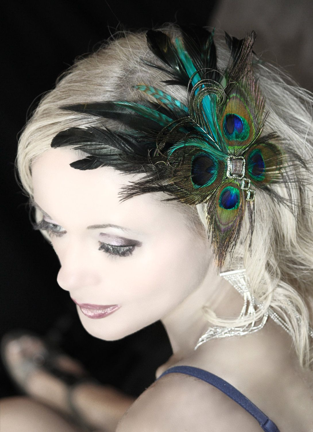 turquoise feather fascinator  I love the make-up!  a48d914c5dc