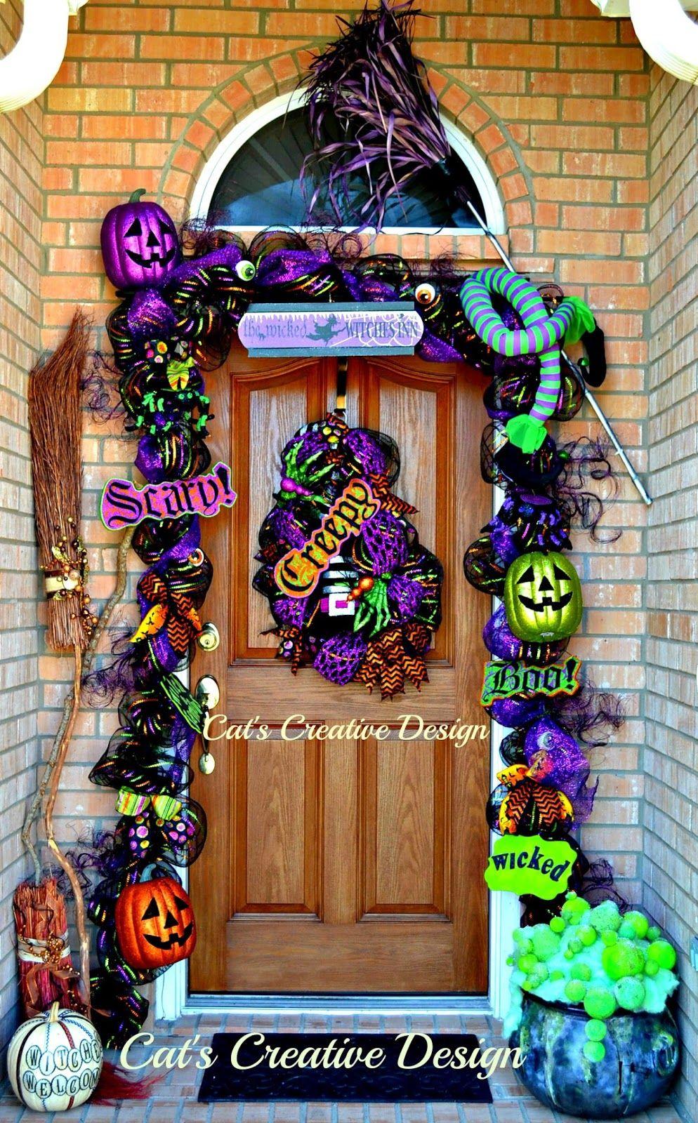 Cat\u0027s Holiday  Home Decor Dazzling doors  mantels Pinterest - Halloween Door Decorations