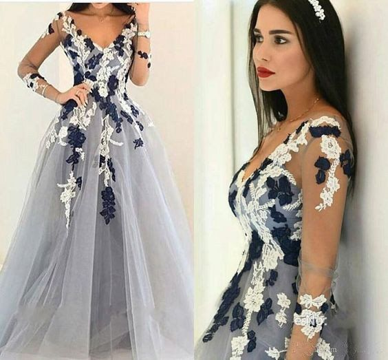 Long Sleeves V Neck Tulle Applique Inexpensive Long Prom Dresses ...