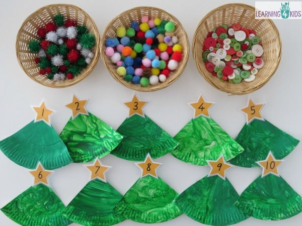 Paper Plate Christmas Tree Counting Decoration & Paper Plate Christmas Tree Counting Decoration | Christmas tree ...