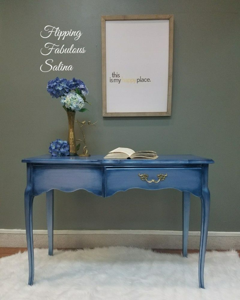 """""""This custom desk was already painted in a metallic blue"""