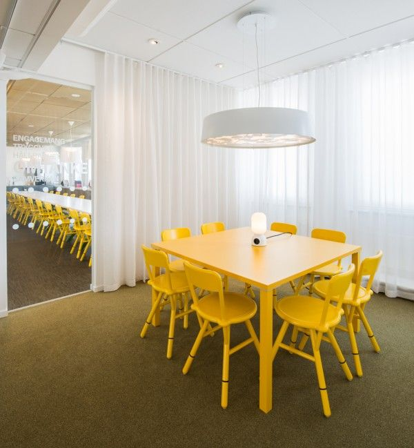 Office orange dining table in office also yellow chair and pendant light plus white curtain ideas beautiful modern office renovation in stockholm