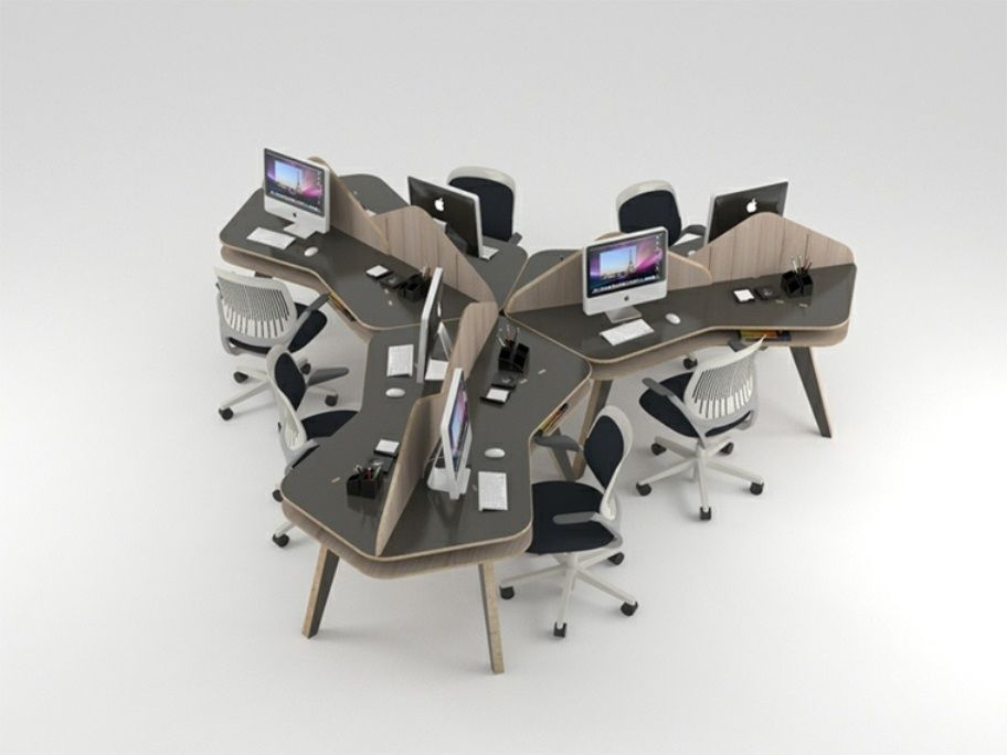 futuristic office furniture. Designed By NOS Designs For Open Space Offices, The Tesella Desk Merges Two Hexagons That Generate A Four-way Modular Array Allowing User To Create Futuristic Office Furniture N