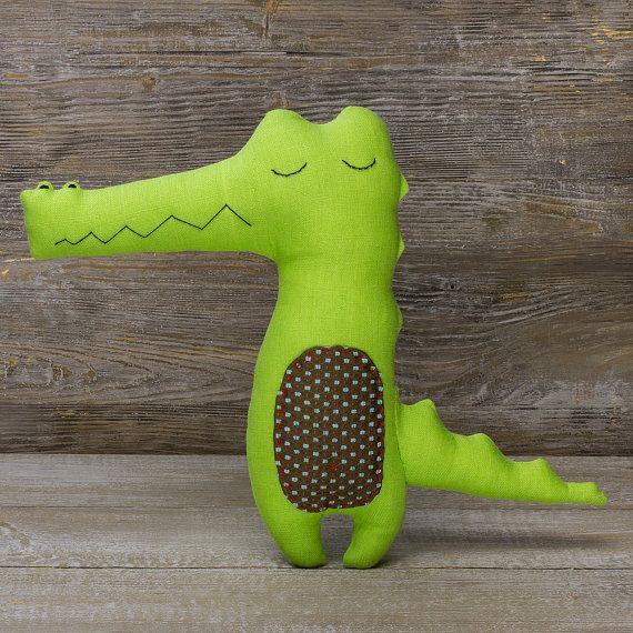 Sweet tooth Crocodile Stuffed animal Linen minimalist by PugovkiTM #stuffedanimals