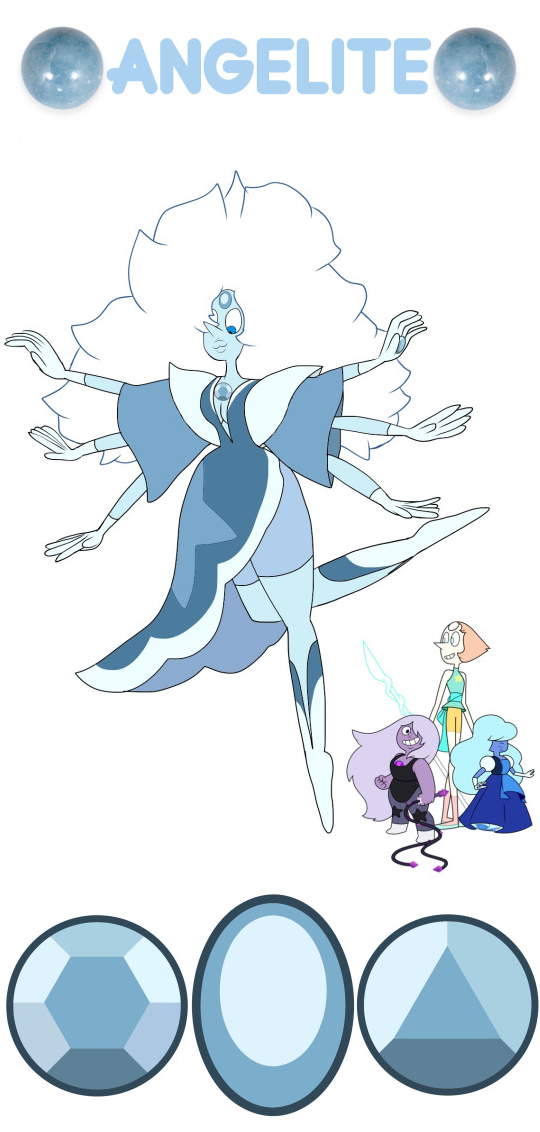 Pearl + Amethyst + Sapphire = Angelite Personality below! Angelite is insufferably superior, and is unfortunately very full of herself and is an intense perfectionist. Because of this she puts her all into everything she does so as not to ruin her reputation. Her abilities include cryokinesis, extreme agility, and flight. For the anon from earlier!