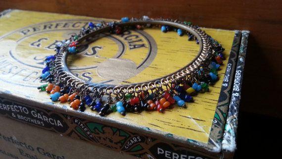 Vintage Bracelet Bangle with Dangling Vintage Beads