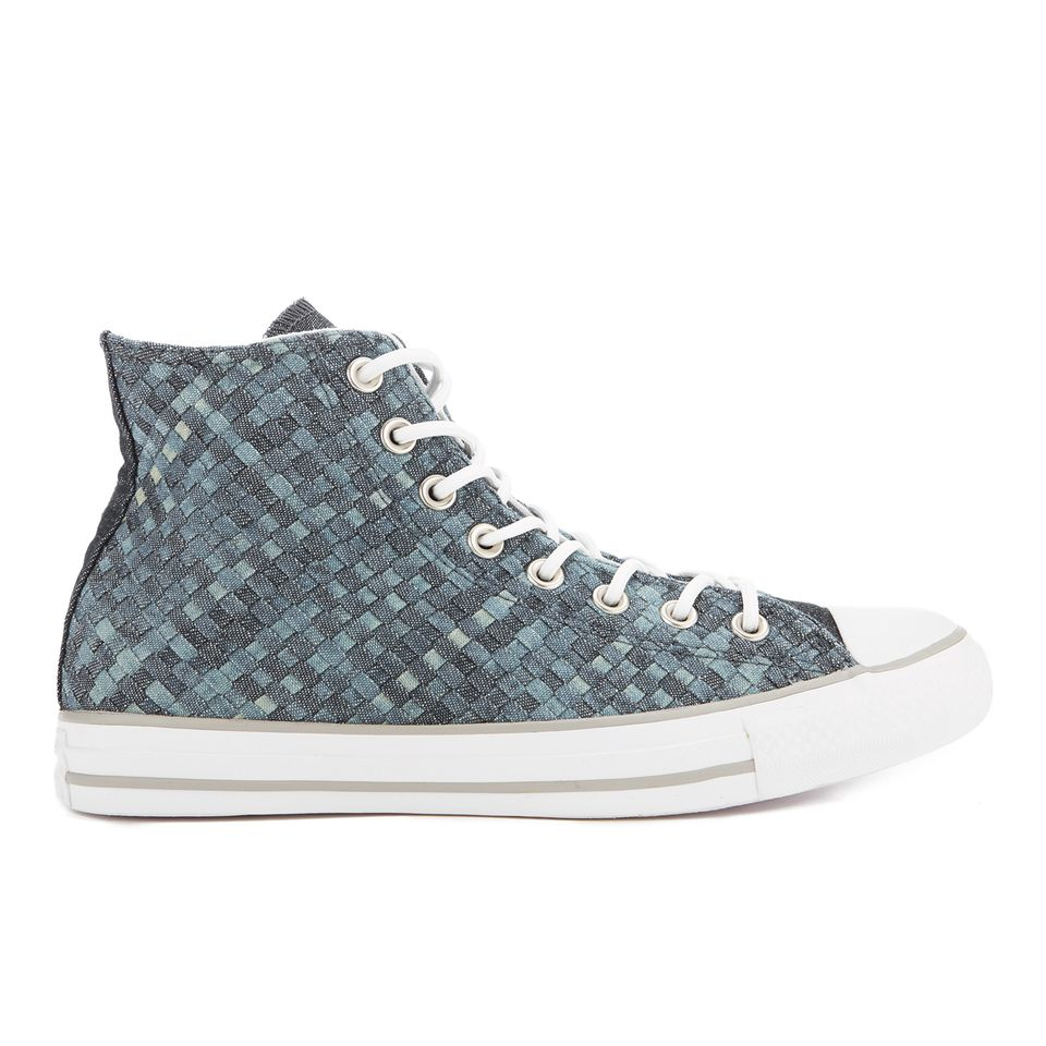 Get Converse Men's Chuck Taylor All Star Denim Woven Hi-Top Trainers -  Polar Blue/White/Dolphin now at Coggles - the one stop shop for the  sartorially ...