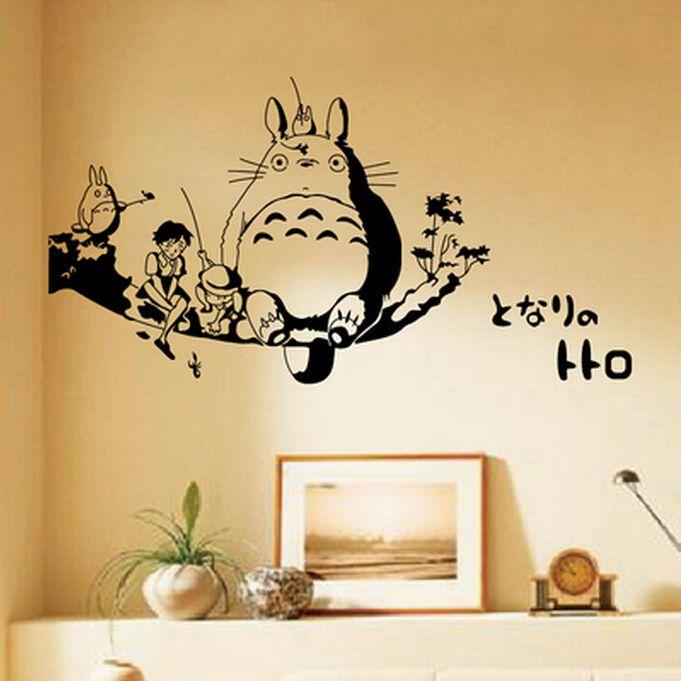 Anime My Neighbor Totoro WALL STICKERS Waterproof bedroom Bed ...