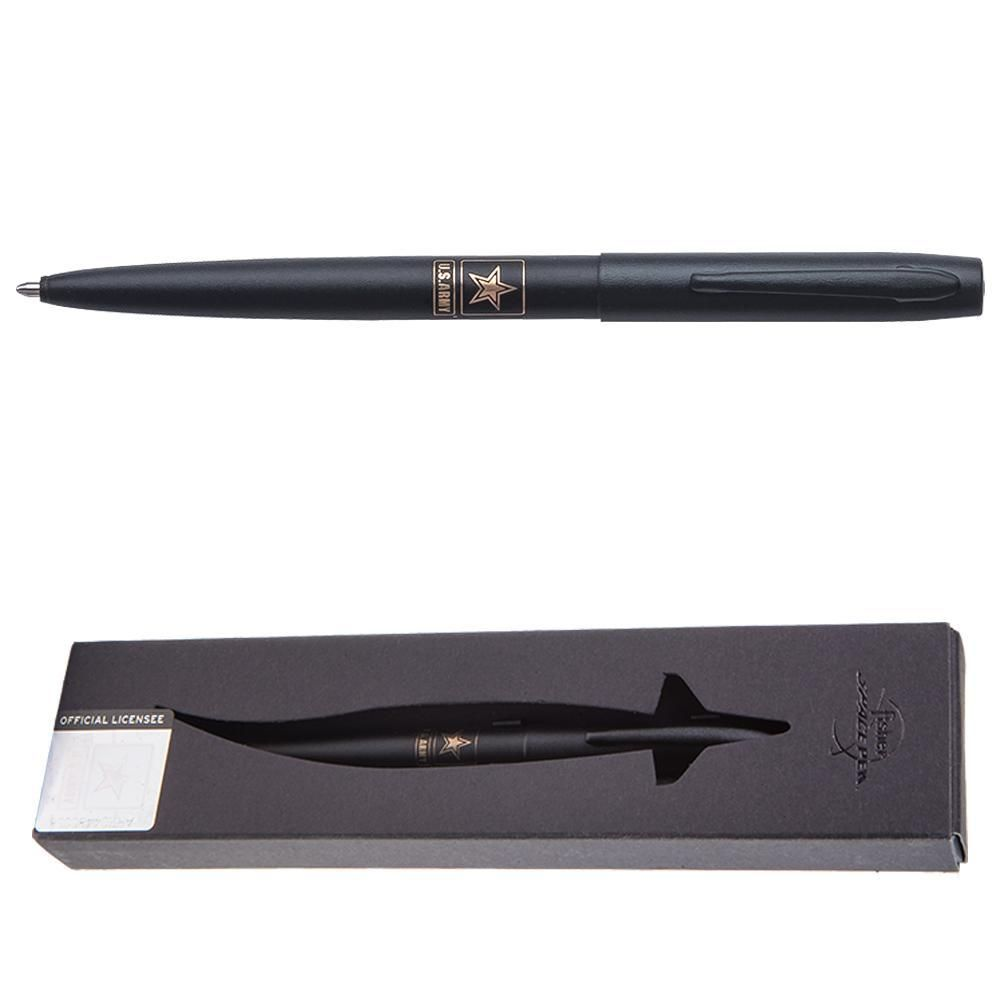 Army Star Insignia Matte Black Bullet Space Pen with U.S