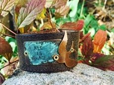 'All is Grace' Leather Cuff