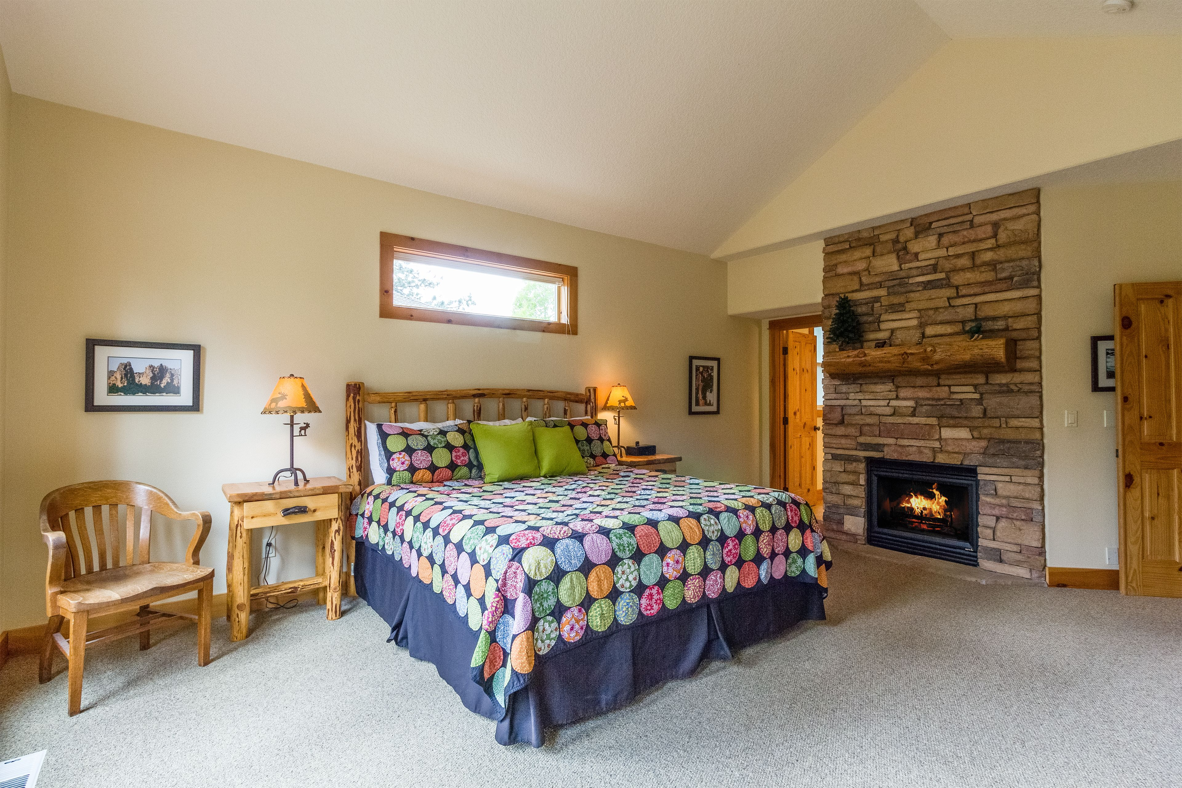 Relax in this master bedroom suite in your Sunriver Oasis