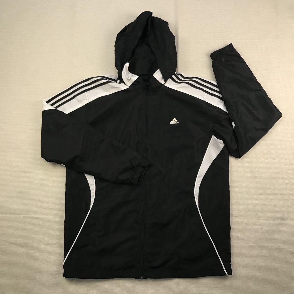 adidas mens sz xl atletico giacca compactable cappuccio bianco nero