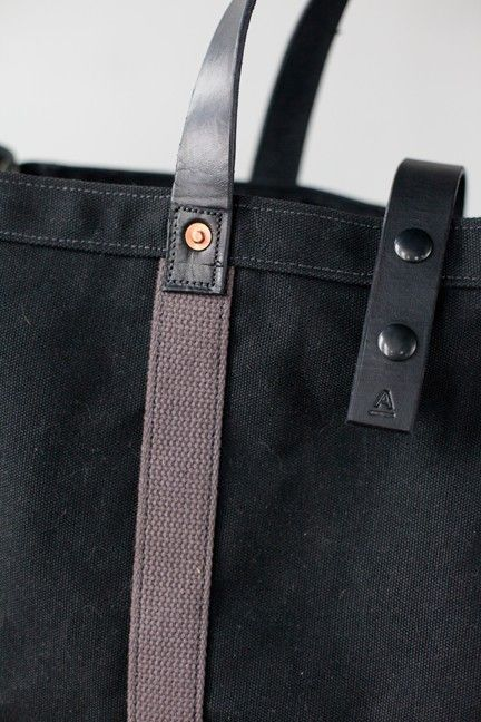 Tool / Garden Tote in Black Waxed Canvas & by ArtifactBags on Etsy
