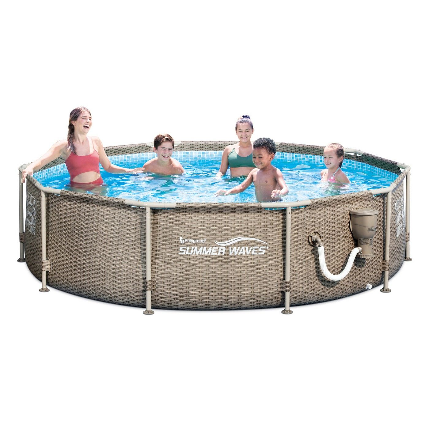 Summer Waves 10ft X 30in Frame Swimming Pool With Exterior Wicker Print Tan Summer Waves Swimming Pools Portable Pools