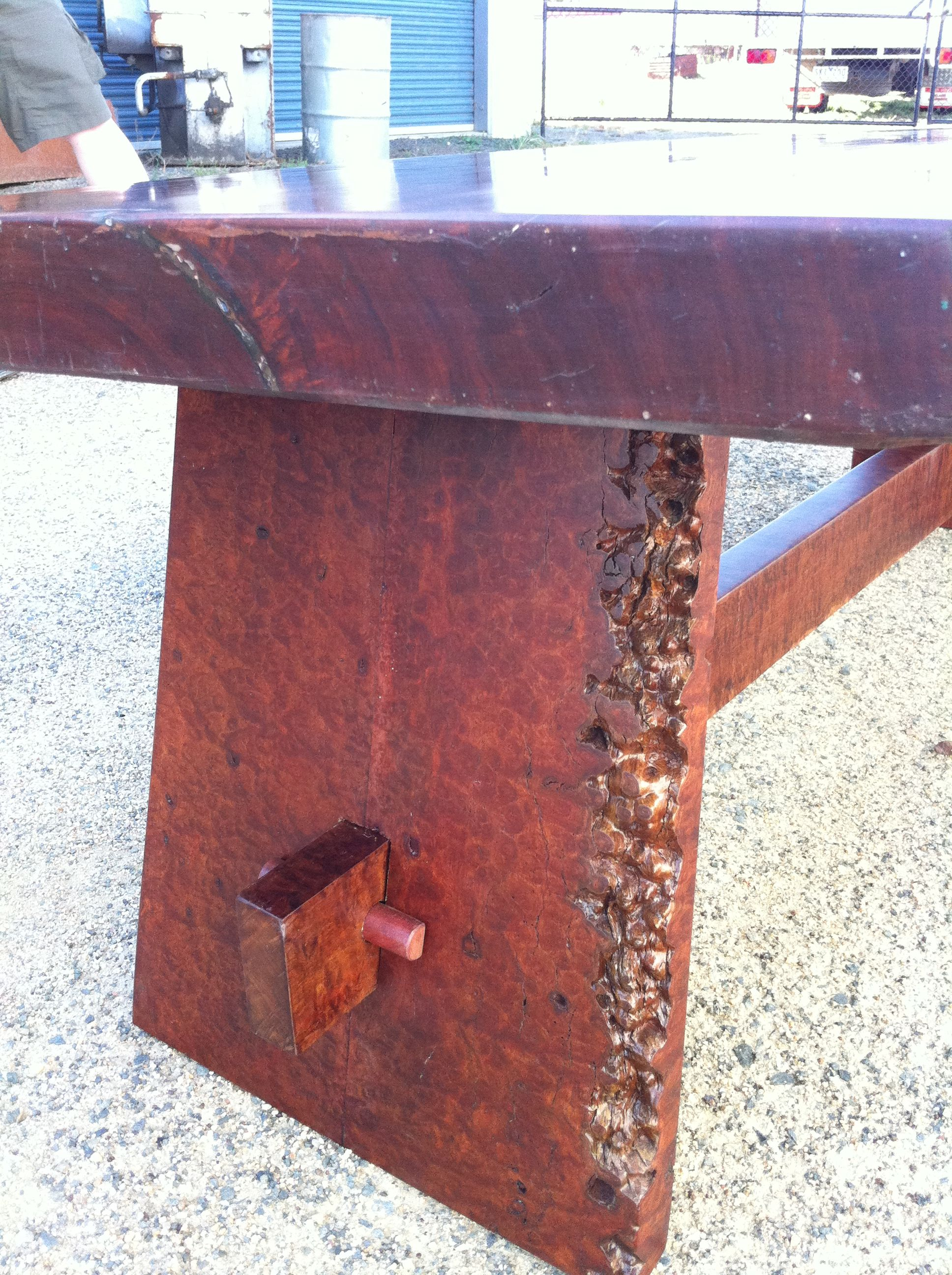 Tenon and Pin on Live edge Redgum Coffee Table Handmade by Prickle