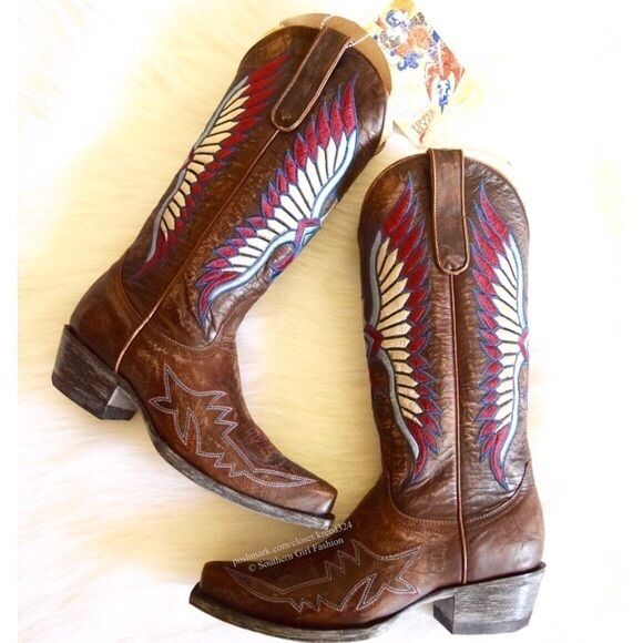 """❗️LOWEST PRICE❗️ OLD GRINGO Boots American Cowboy Women's Size 6.  New with box. $300 Retail + Tax.  - Distressed embroidered cowboy boots.  - Vintage American eagle design & coordinating stitch pattern. - Leather, rubber.  - 13"""" Shaft, pull-on style.   Handmade. Yippee Ki Yay by Old Gringo. Imported.  ❗️ No trades, holds or modeling.    Bundle 2+ items for a 20% discount!    Stop by my closet for even more items from this brand!  ✔️ Items are priced to sell, however reasonable offers will…"""
