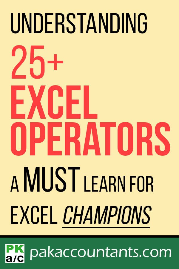 Understanding Excel Operators - Guide Excel Pinterest