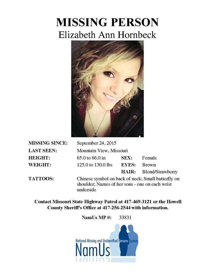 Elizabeth Hornbeck, 26, was last seen at Veterans Memorial Park - missing person poster generator
