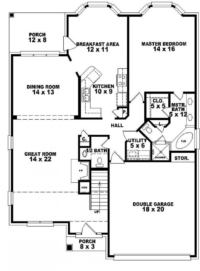 654065 One And A Half Story 3 Bedroom 2 5 Bath Traditional Style House Plan House Plans Floor Plans Home Plan House Plans How To Plan Traditional Style