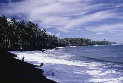 Black Sand Beach At Kalapana Island Hawaii