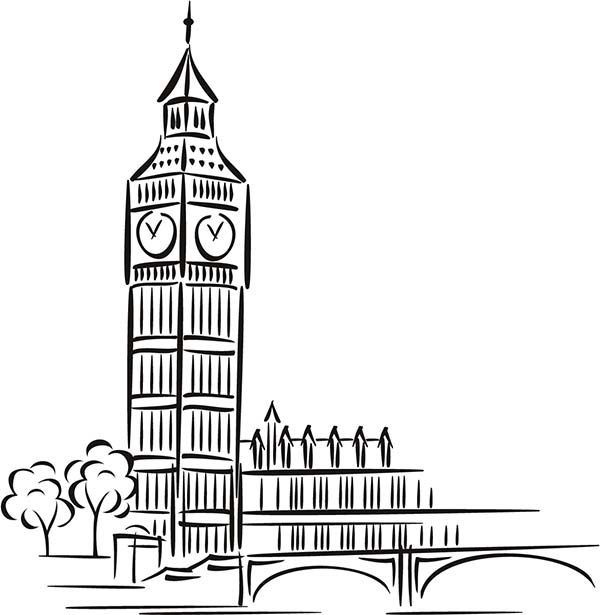 Big Ben In London Coloring Page - Free Great Britain Coloring ... | 615x600