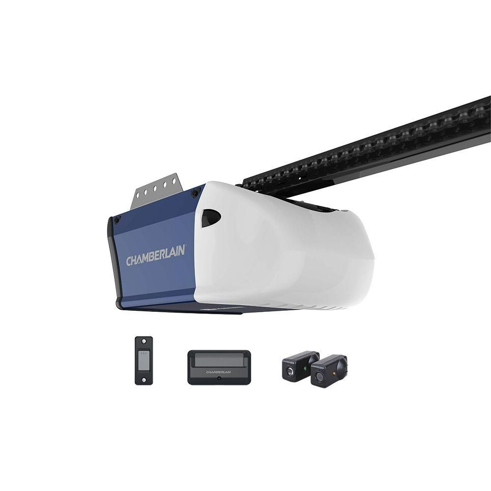 Chamberlain 1 2 Hp Chain Drive Garage Door Opener Hd210 The Home Depot In 2020 Chamberlain Garage Door Garage Door Sensor Automatic Garage Door