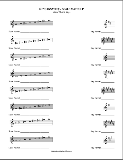Fresh and Fun! Idea - Key Signature-Scale Matchup Music Worksheets ...