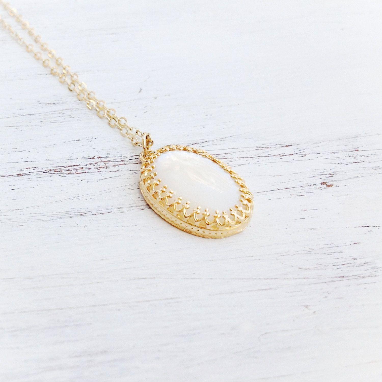 Gold Necklace, seashell necklace, weeding jewelry, white pendant, long neckalce, summer  -  21057 by Avnis on Etsy