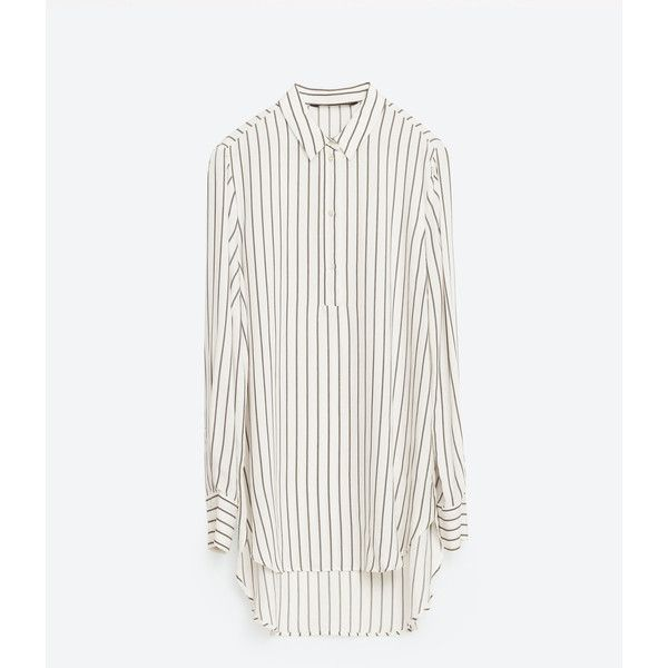 LONG STRIPED BLOUSE - Shirts-TOPS-WOMAN | ZARA Hungary ($50) ❤ liked on Polyvore featuring tops, blouses, zara, long striped shirt, white shirt blouse, striped shirt, stripe blouse and striped top