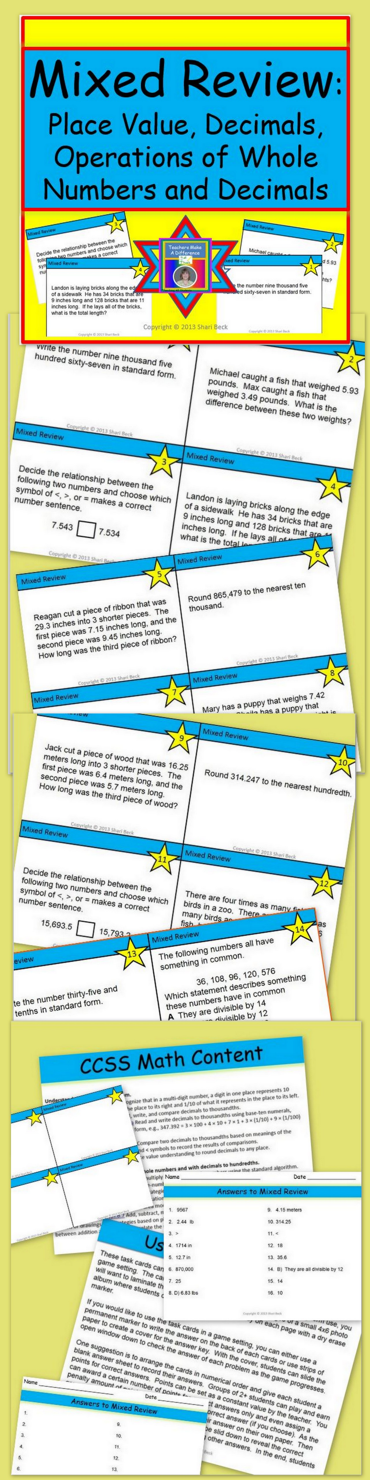 Review Task Cards For Grade 5 Nbt A 1 4 And Nbt B 5 7