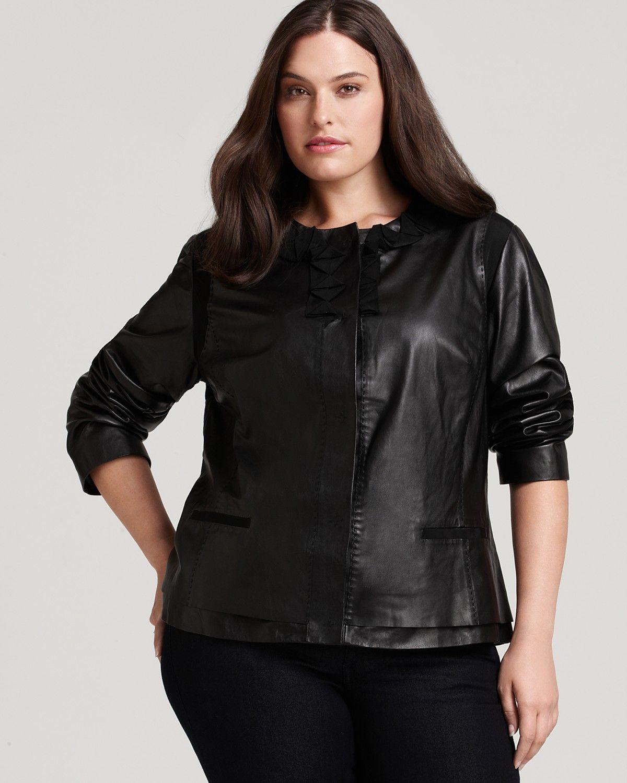Tahari Woman Plus Size Arlene Leather Jacket With Ruffled Neck Women Plus Bloomingdale S Plus Size Leather Jacket Leather Jacket Clothing Catalog [ 1500 x 1200 Pixel ]