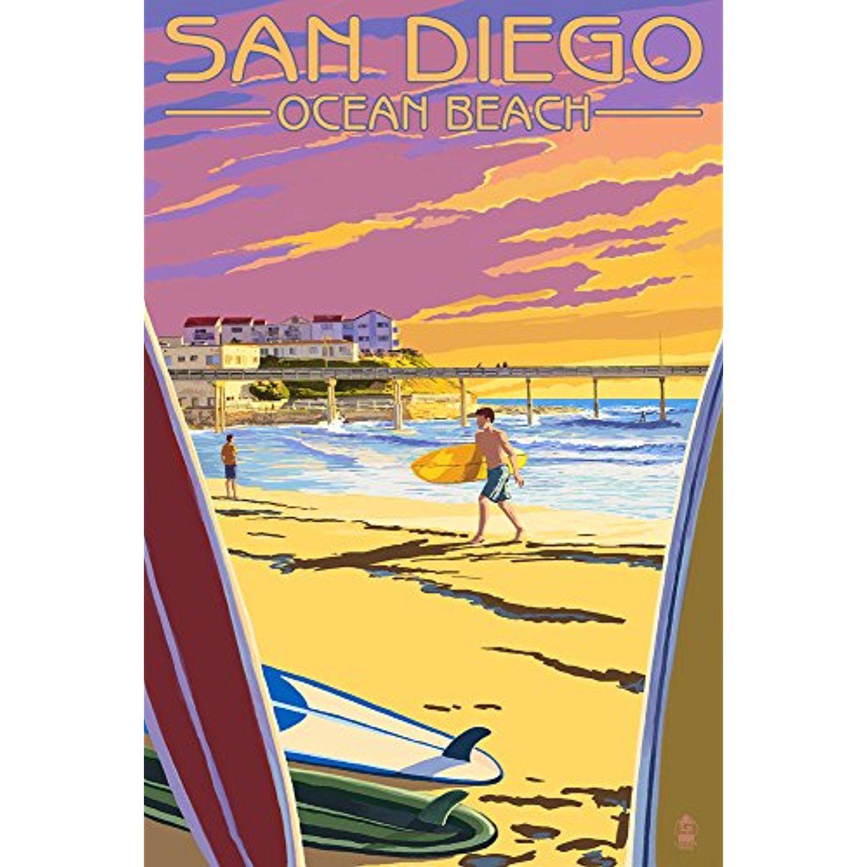 San Diego, California - Ocean Beach (12x18 SIGNED Print Master Art ...