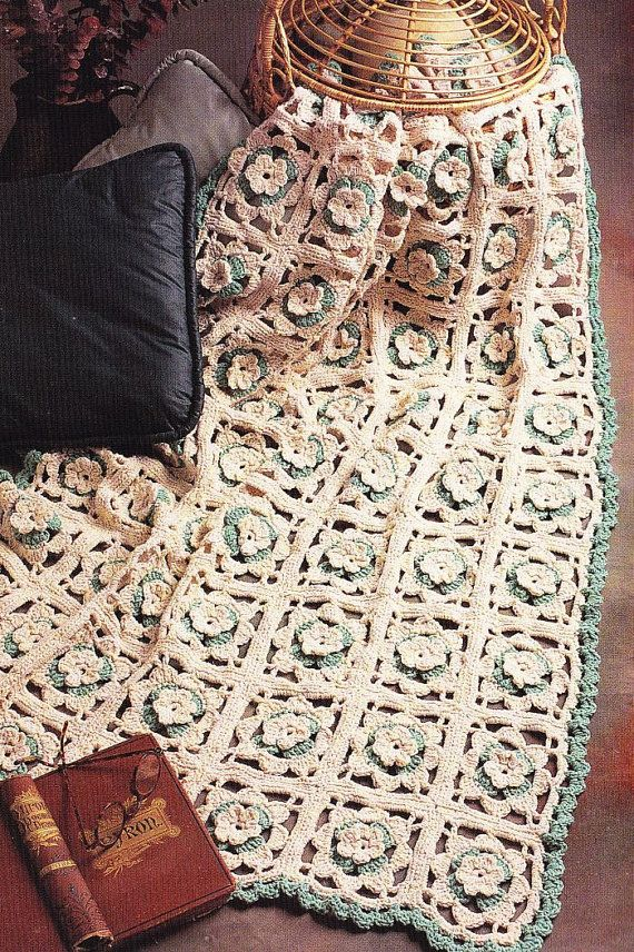 Floral Squares Afghan Crochet Pattern 33.5 x 47 finished size when ...