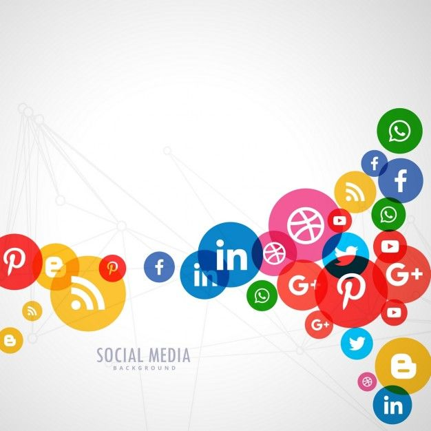 background of colored circles with social media icons free vector