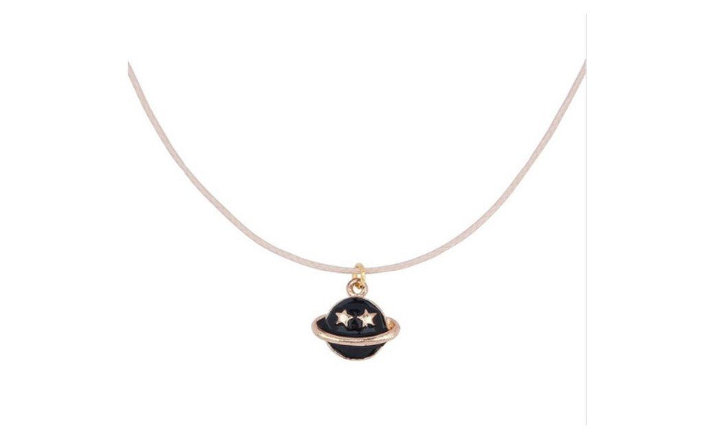 Wax Rope Gold Plated Black Enamel Saturn Pendant Chain Necklace