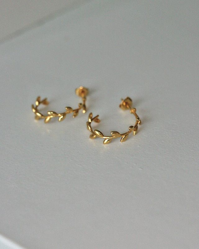 Gold Olive Leaf Hoop Earrings Sterling Silver