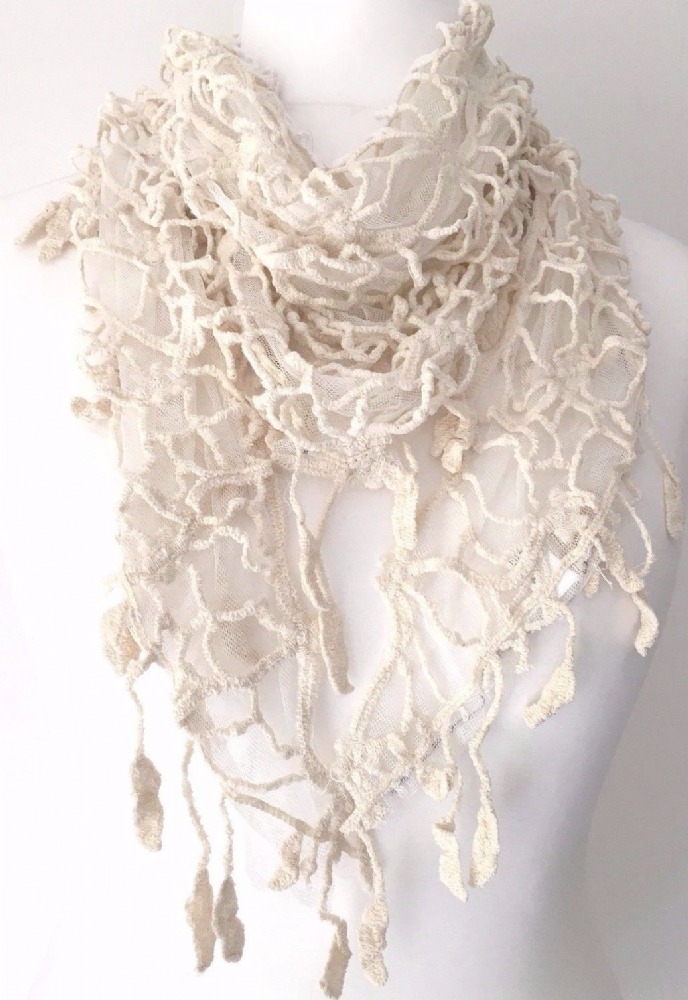 Cobweb Scarf Lace Style Wrap Cream Ivory Shawl Fair Trade New Ladies Wedding